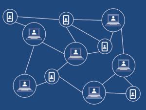Blaue Blockchain Bitcoin Netzwerk Grafik