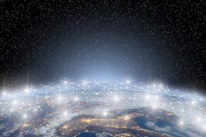 Blockchain Bitcoin Netzwerk über Globus