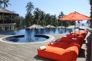 Hotelpool und Liegen gebucht über Pauschalreisen