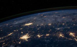 Luftaufnahme Welt bei Nacht