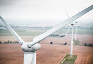 Windkraftanlagen Nahaufnahme beim Erzeugen von Ökostrom